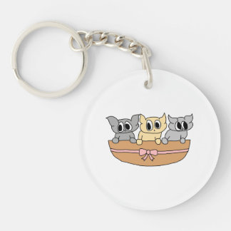 Basket with 3 Kittens, Cartoon. Double-Sided Round Acrylic Keychain