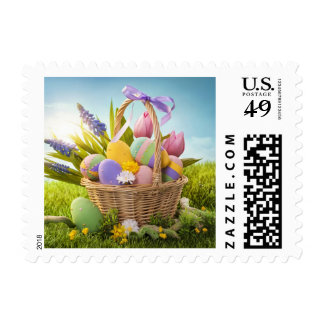 Basket with Easter Eggs on Green Grass Postage