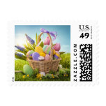 Basket with Easter Eggs on Green Grass Stamps