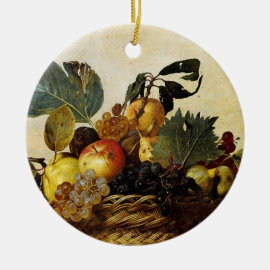 Basket with Fruit, Caravaggio Ceramic Ornament
