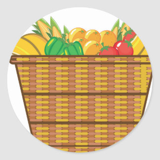 Basket with fruits and vegetables vector classic round sticker