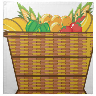 Basket with fruits and vegetables vector cloth napkin