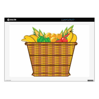 Basket with fruits and vegetables vector decals for laptops