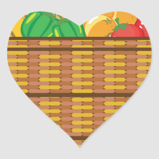 Basket with fruits and vegetables vector heart sticker