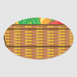 Basket with fruits and vegetables vector oval sticker