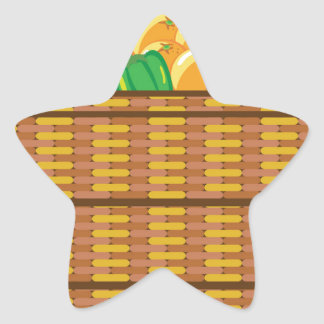 Basket with fruits and vegetables vector star sticker