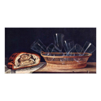 Basket With Glass Pie And A Letter By Stoskopff Custom Photo Card