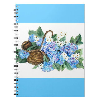 BASKET WITH  HYDRANGEAS NOTE BOOK