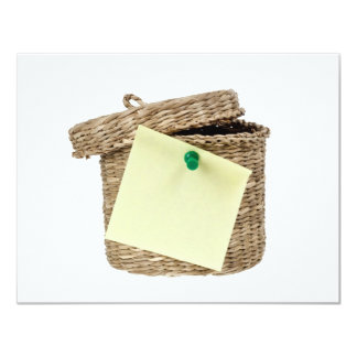 Basket with sticky note 4.25x5.5 paper invitation card