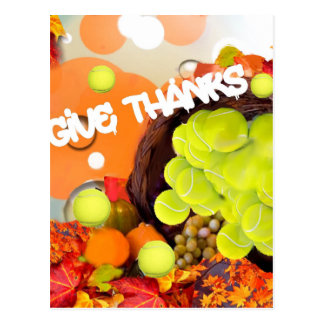 Basket with tennis ball in Thanksgiving Postcard
