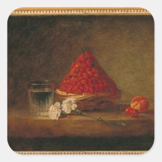 Basket with Wild Strawberries, c.1761 Square Sticker
