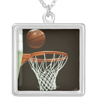 Basketball 5 silver plated necklace