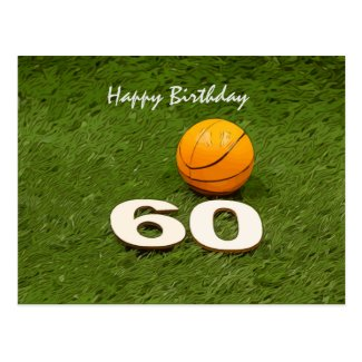Basketball 60th birthday anniversary postcard