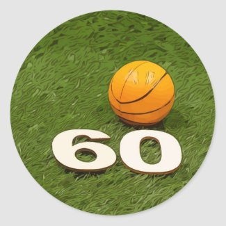 Basketball 60th Birthday Classic Round Sticker