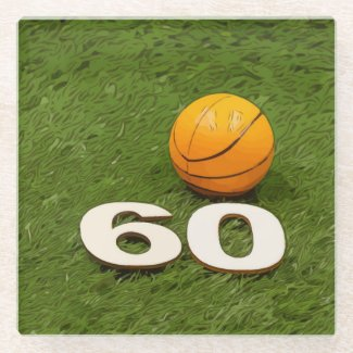 Basketball 60th Birthday Glass Coaster