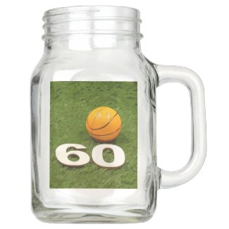Basketball 60th Birthday Wine Label with basketbal Mason Jar