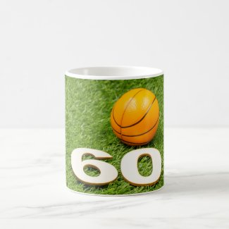 Basketball 60th Birthday with number sixty Coffee Mug