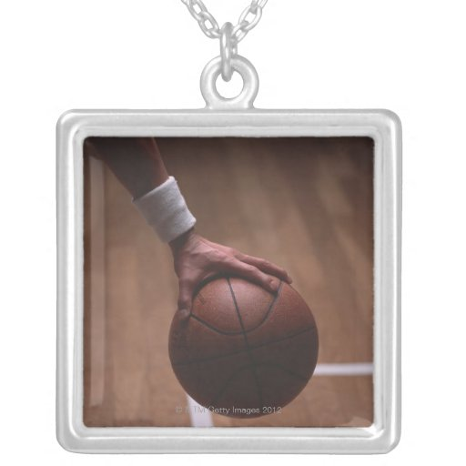 Basketball 6 square pendant necklace