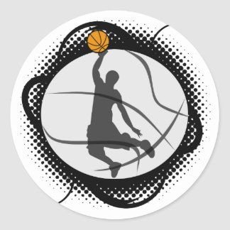 Basketball Abstract Classic Round Sticker