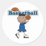 Basketball, African American Boy Classic Round Sticker