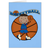 BASKETBALL African American Boy Tshirts and Gifts Card