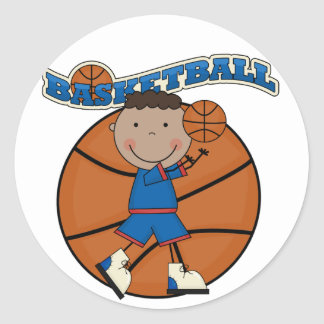 BASKETBALL African American Boy Tshirts and Gifts Stickers