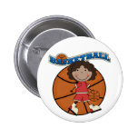 BASKETBALL African American Girl T-shirts and Gift Pinback Button
