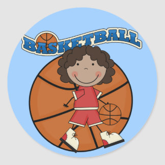 BASKETBALL African American Girl T-shirts and Gift Classic Round Sticker