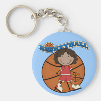 BASKETBALL African American Girl T-shirts and Gift Keychain