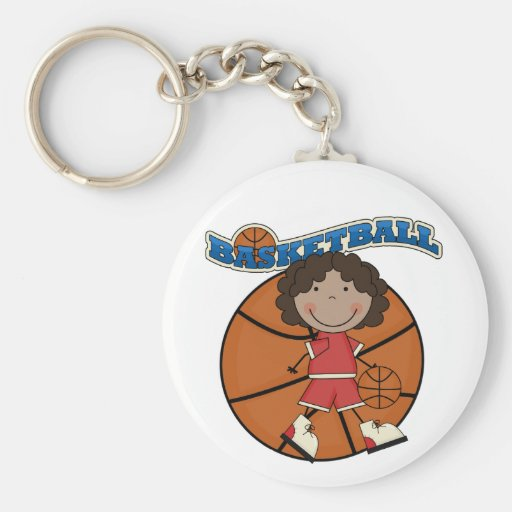 BASKETBALL African American Girl T-shirts and Gift Key Chains