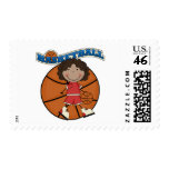 BASKETBALL African American Girl T-shirts and Gift Stamps