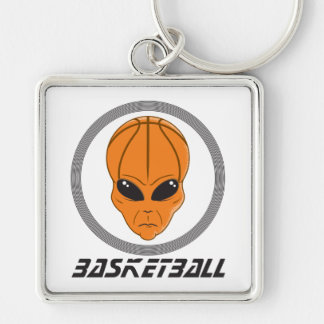 basketball alien head with text keychain