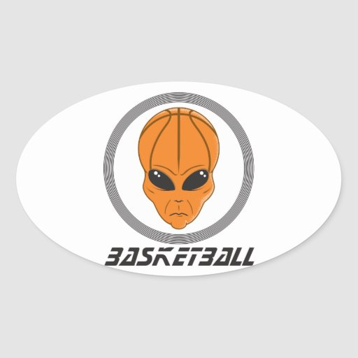 basketball alien head with text oval sticker