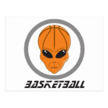 basketball alien head with text postcards