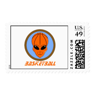 Basketball Alien Postage Stamp