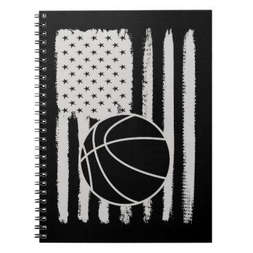 Basketball American Flag USA Apparel Notebook