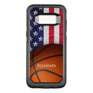 basketball and American flag women's custom name OtterBox Commuter Samsung Galaxy S8 Case