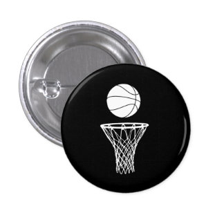 Basketball and Hoop Button Black
