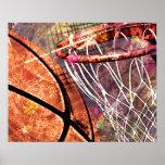 Basketball and Hoop girly basketball pink purple Poster