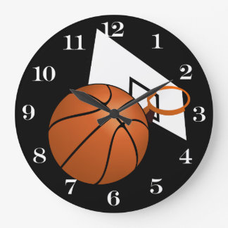 Basketball and Hoop Large Clock
