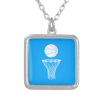 Basketball and Hoop Necklace Blue