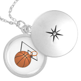 Basketball and Hoop Silver Plated Necklace