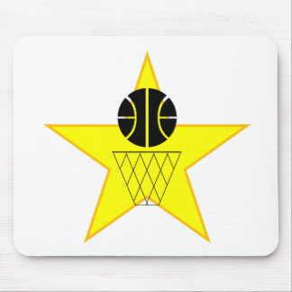 Basketball And Hoop Star Mouse Pad
