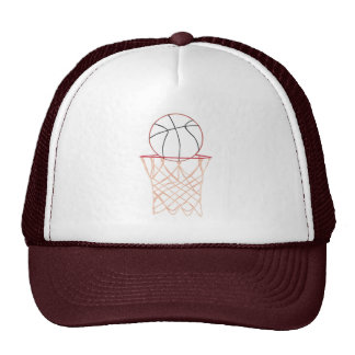 Basketball and net Outline Drawing Sports Hats