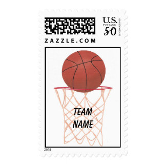 Basketball and Net Sports Team Name Postage Stamps