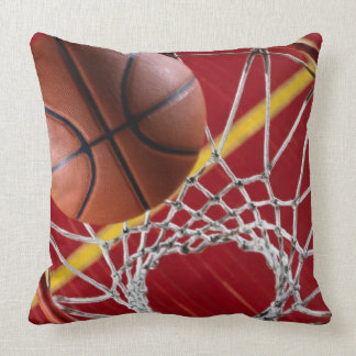Basketball and Net Square Throw Pillow
