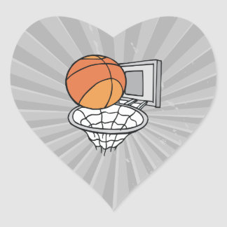 basketball and net vector graphic heart sticker