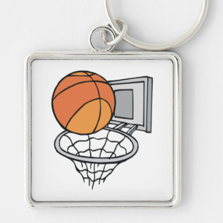 basketball and net vector graphic key chains