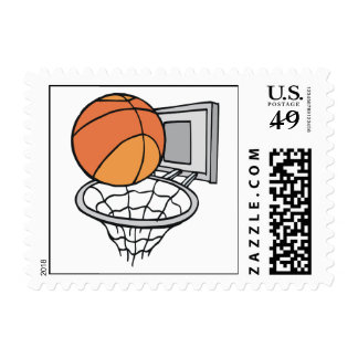 basketball and net vector graphic postage stamp