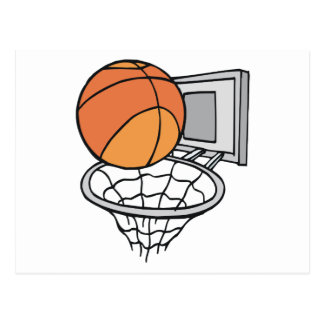 basketball and net vector graphic postcard